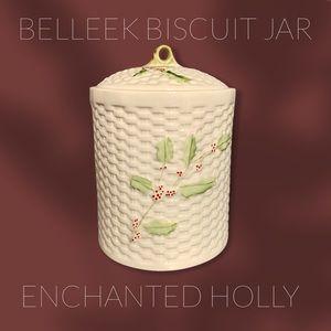 BELLEEK Enchanted Holly Biscuit Jar Rare Retired